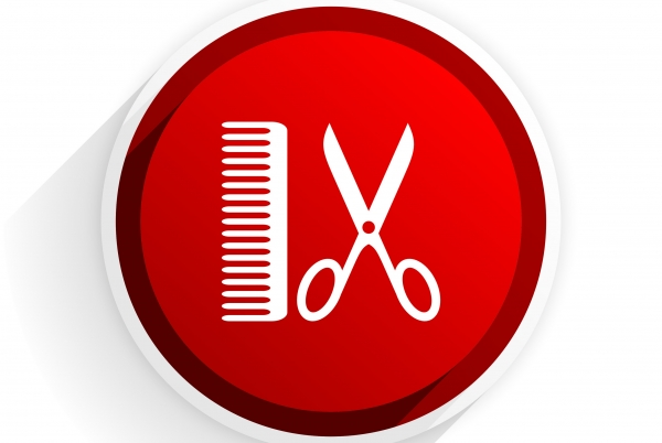 barber flat icon with shadow on white background, red modern design web element